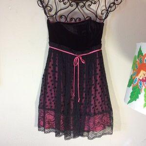 Betsey Johnson Black velvet polka dot Pink Gown
